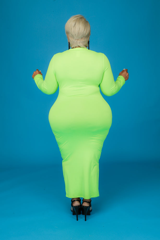 Neon Green Maxi Body-Con Dress