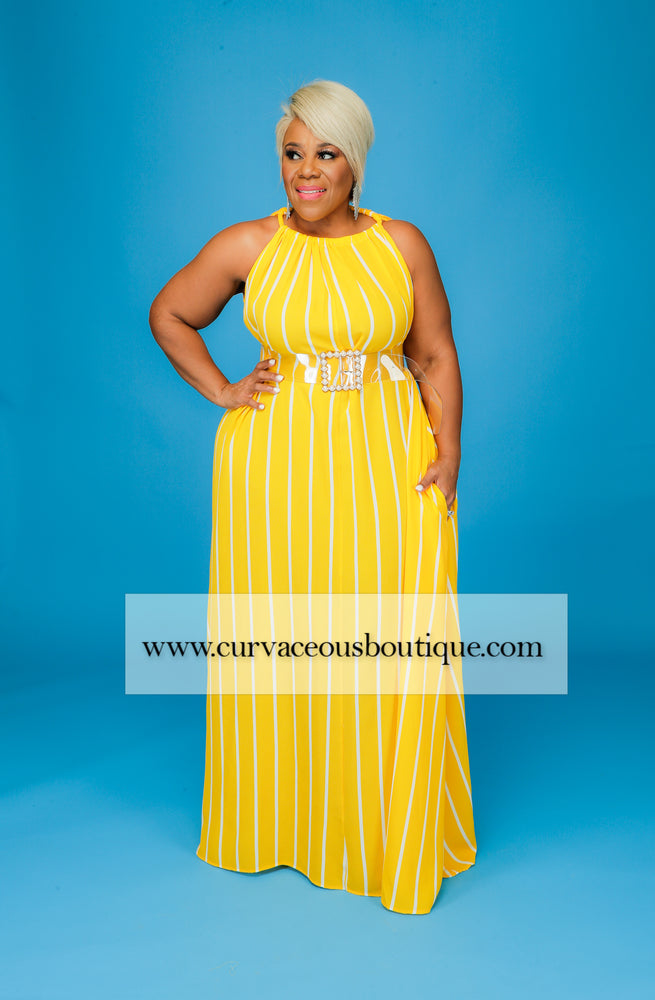 Yellow Stripe Halter Maxi Dress