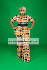 Pumpkin Plaid Flare Jumpsuit