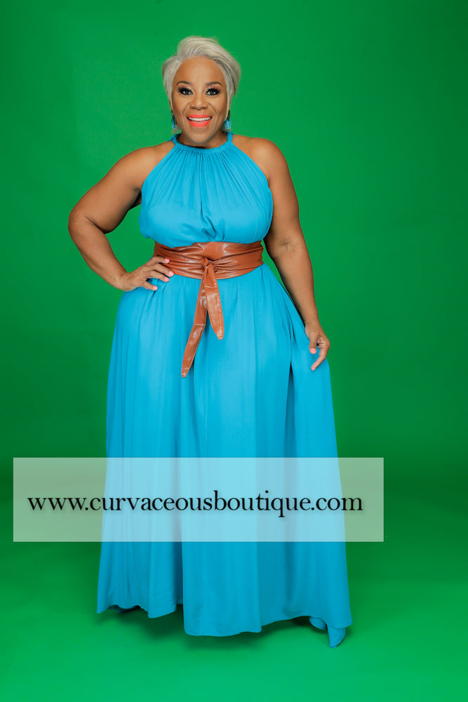 Turquoise Halter Maxi Dress