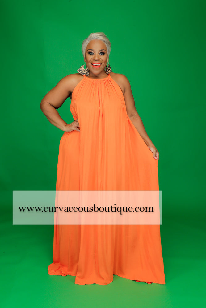 Orange Halter Maxi Dress