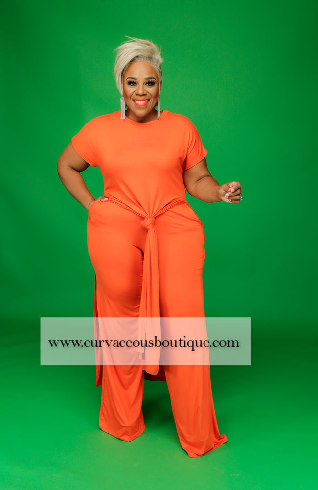 Orange Side Splits Pant Set