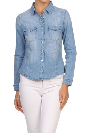 Light Blue Lapel  Sleeve Denim Top