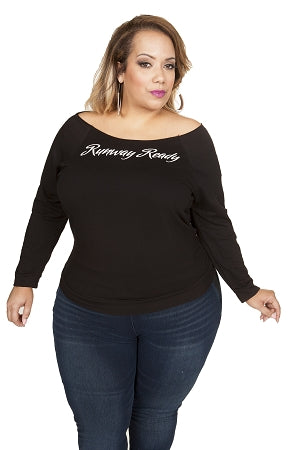 Black Runway Ready Raw Edge Shirt