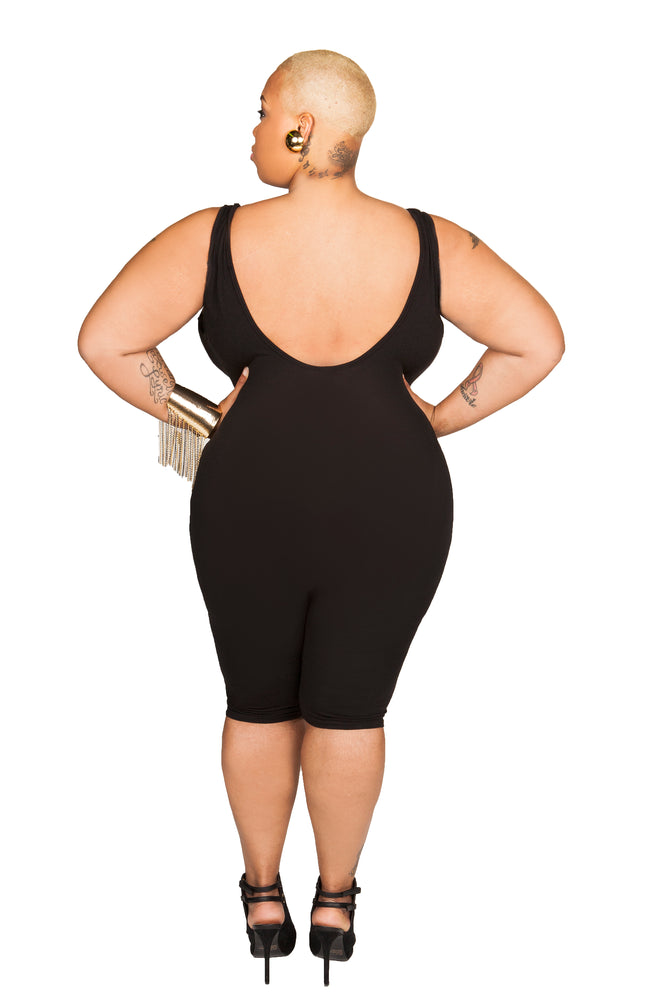 Black Shane Simple Capri Catsuit