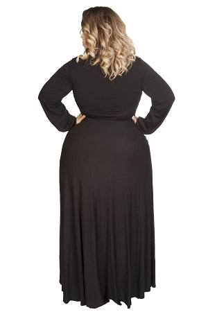 Black Marquis Bow Tie Maxi Dress