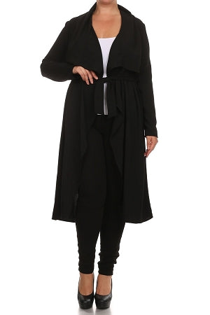 Black Notched Collar Duster/ Coat