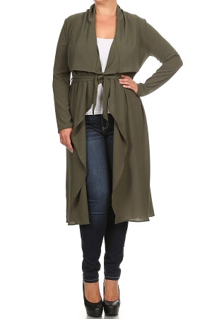 Olive Green Notched Collar Duster/Coat