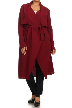 Wine Notched Collar Duster/ Coat