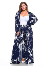 Navy Blue Crackle Print Duster Set