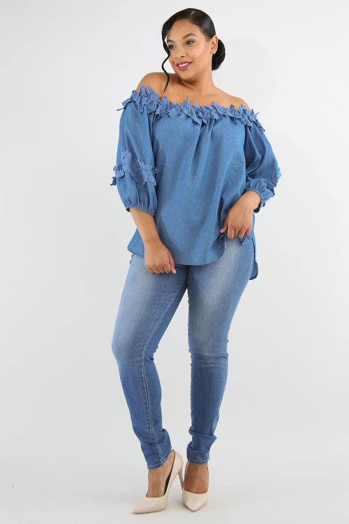 Off Shoulder Embroidered Denim Top