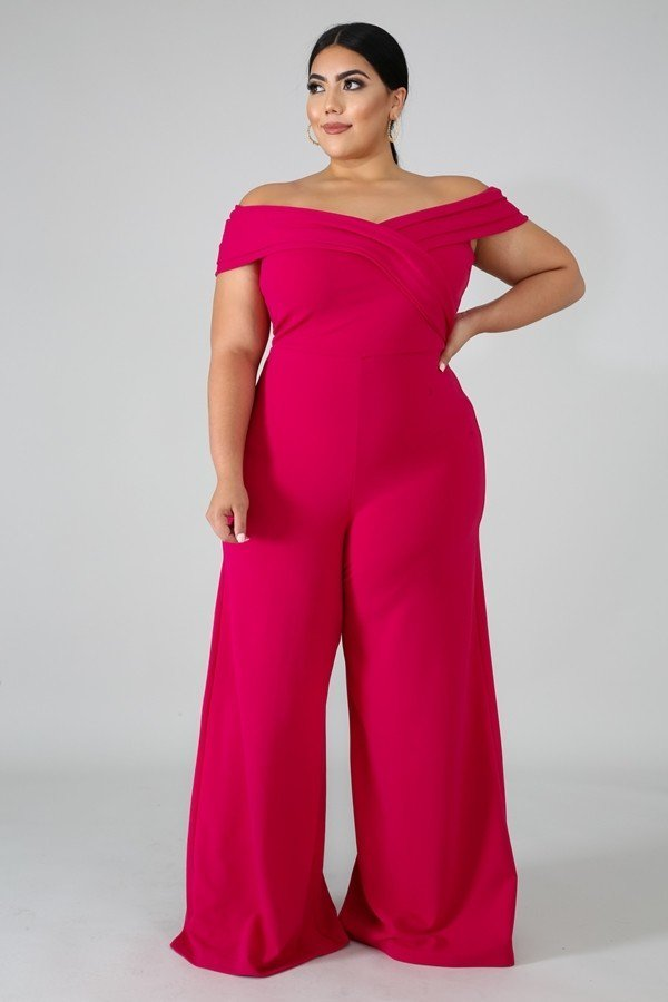 Pink Rain Off Shoulder Jumpsuit