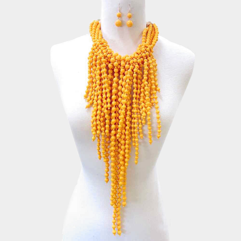 Yellow Pearl Layered Fringe Necklace Set