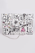 White Lovely Doodle Envelope Clutch