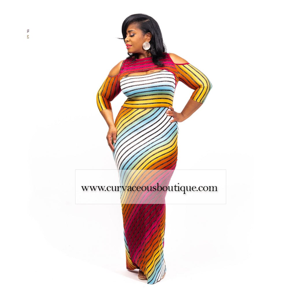 True Magenta Stripe Maxi Dress