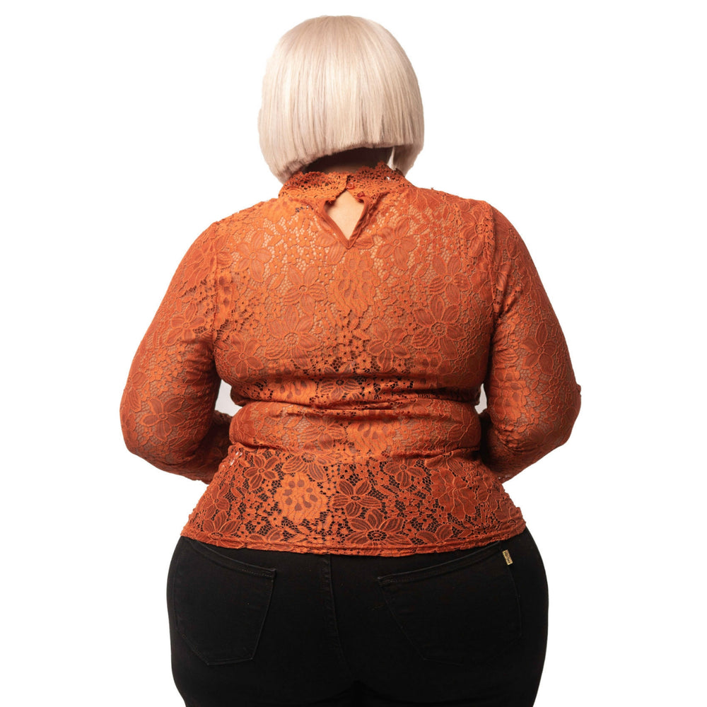 Rust Flower Lace Top