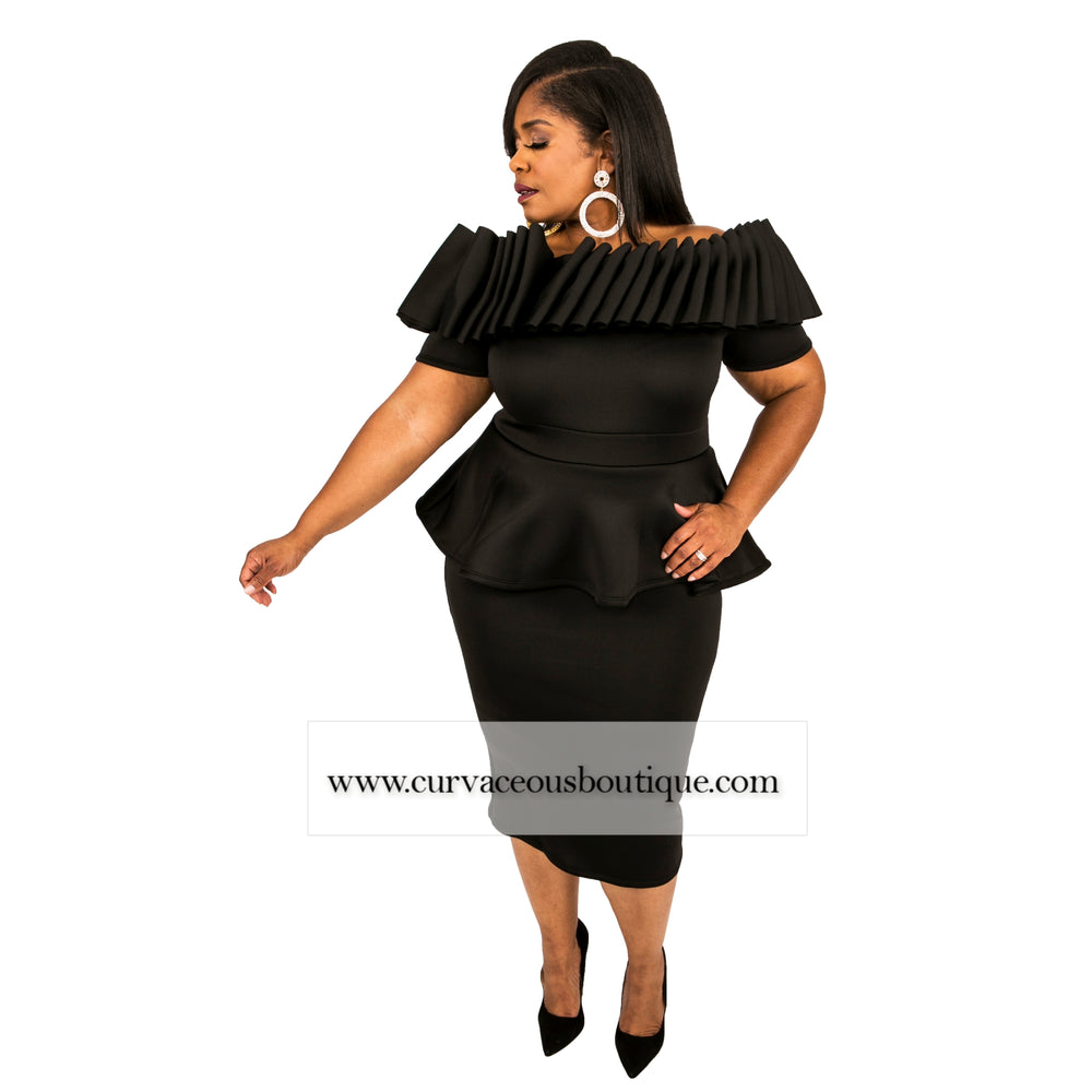 Black Greta Peplum Dress