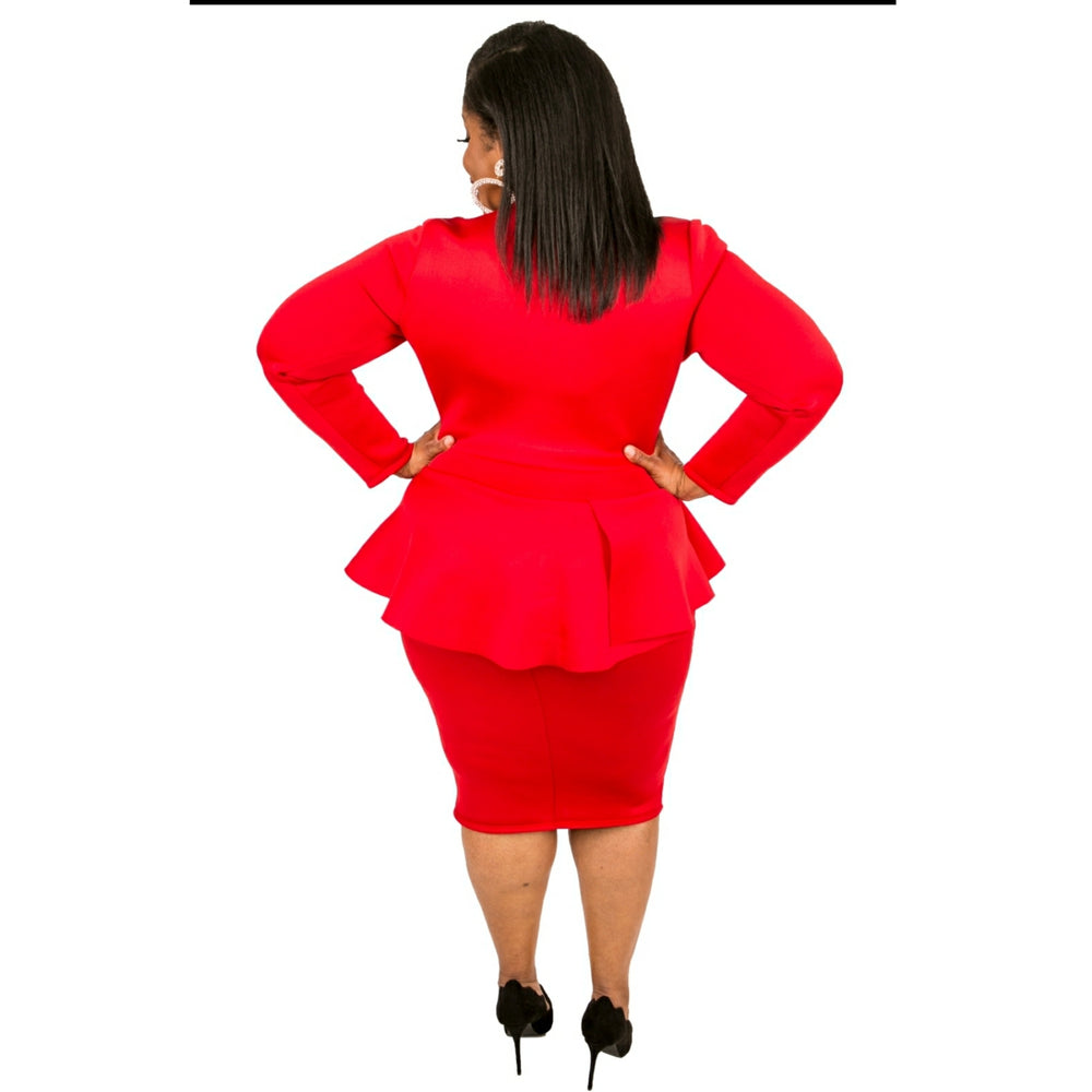 Red Courtland Peplum Dress