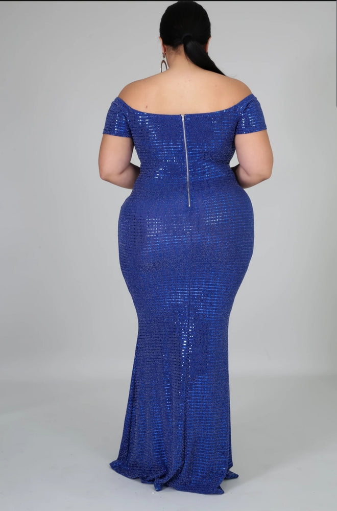 Blue Ciara Metallic Gown