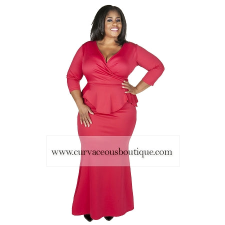 Red Madelyn Peplum Maxi Dress