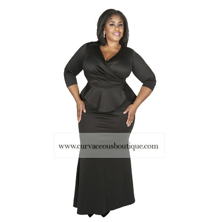 Black Madelyn Peplum Maxi Dress