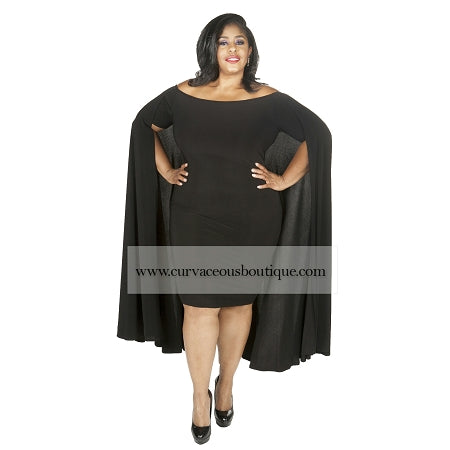 Black Aria Cape Off Shoulder Dress