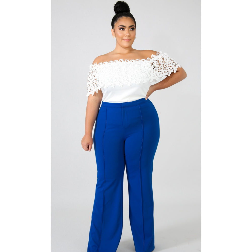 Royal Blue Front Pleated Wide Leg Pants
