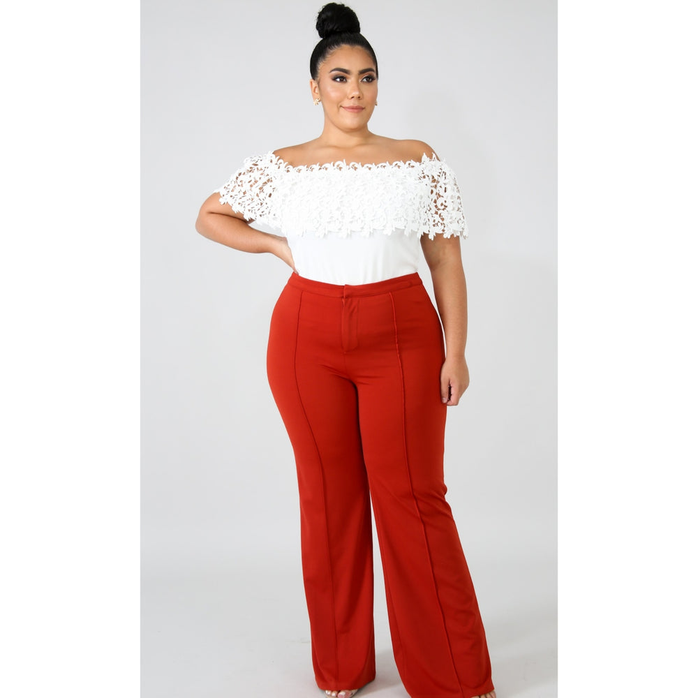 Rust Front Pleated Wide Leg Pants