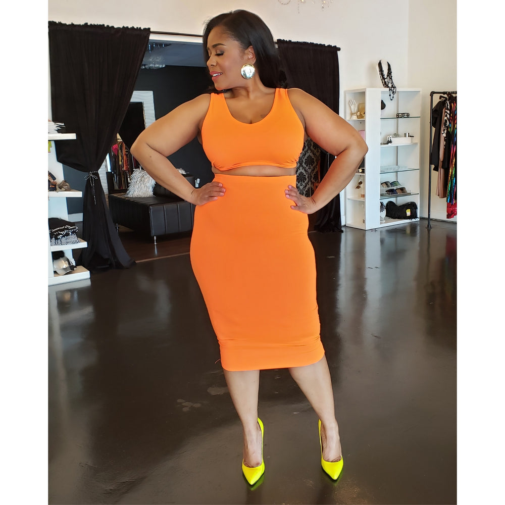 Neon Orange Jay Skirt Set