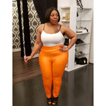 Orange Ruched Back Leggings