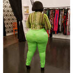 Neon Green Ruched Back Leggings