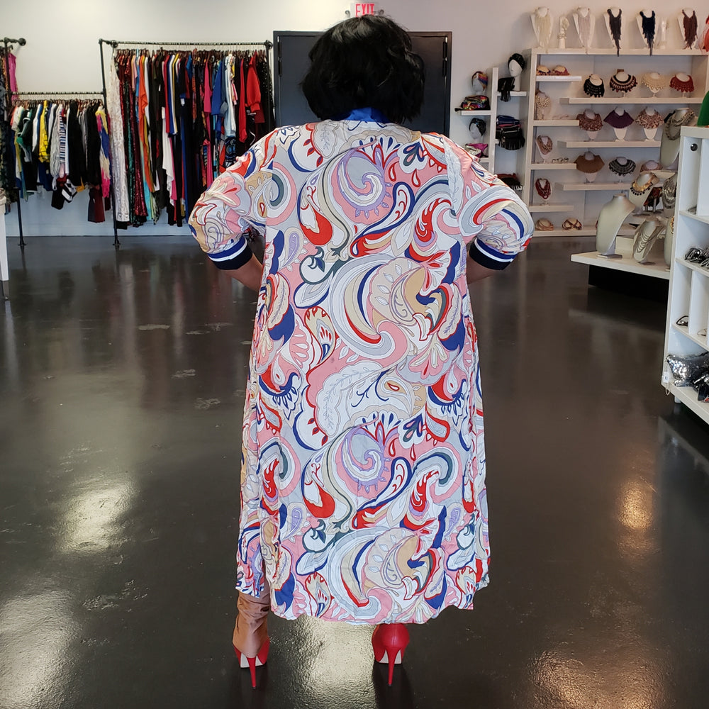 Blue and Red Paisley Duster