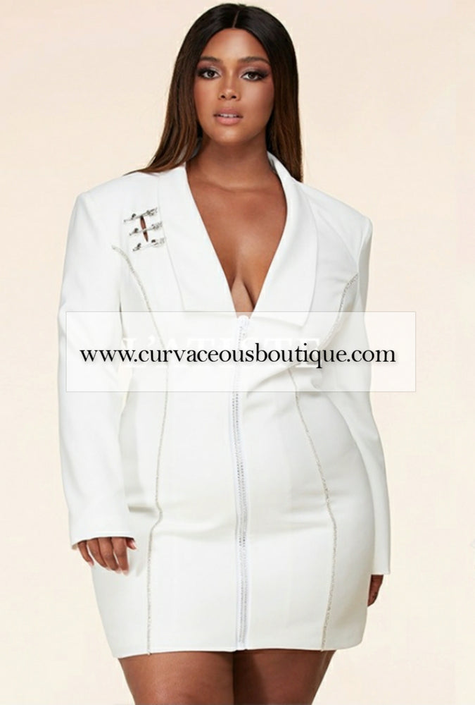 Ivory Safety Pin Blazer Dress