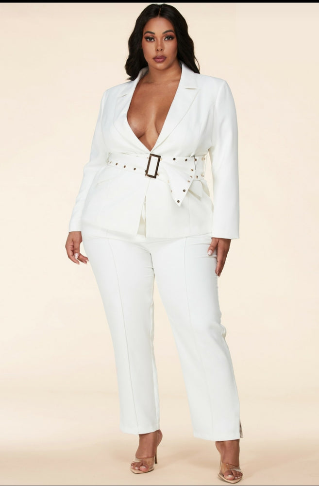 Ivory Beaded Belt Pant Suit