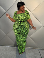 Green Leopard Ruched Dress