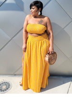 Mustard Polka Dot Split Skirt Set