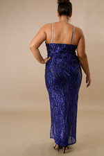 Royal Blue  Lady Sequin Maxi Dress
