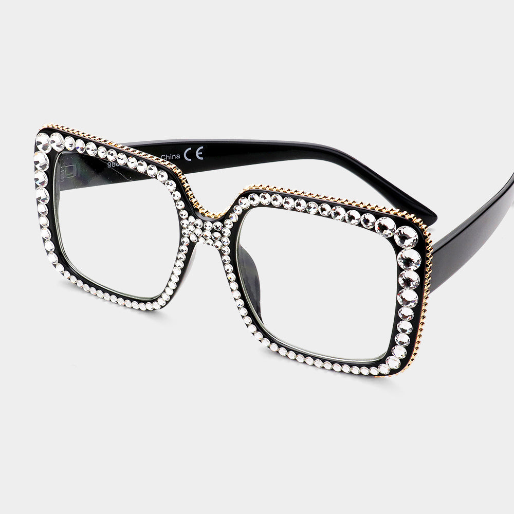 Black Rhinestone Square Glasses