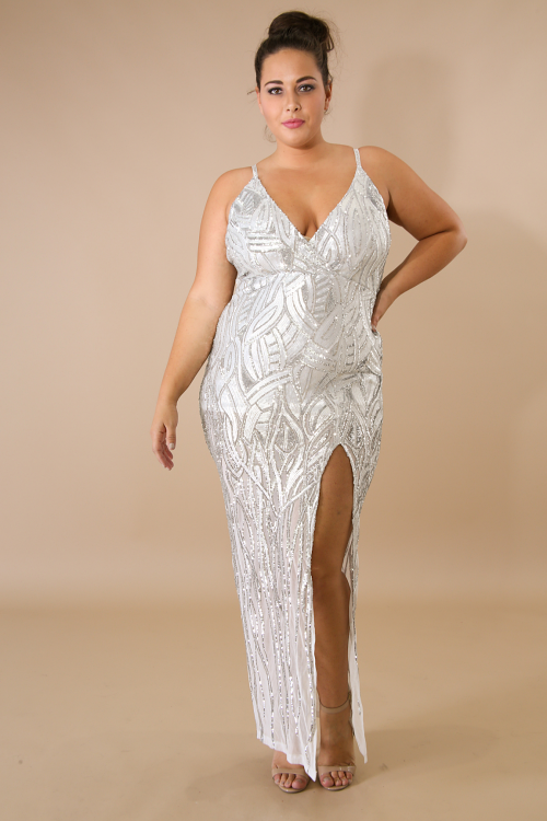 Silver  Lady Sequin Maxi Dress