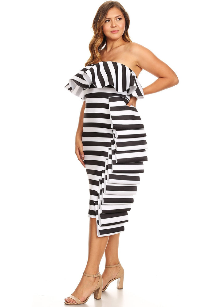 Segal Stripe Side Ruffle Dress