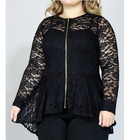 Black Lace Peplum Jacket