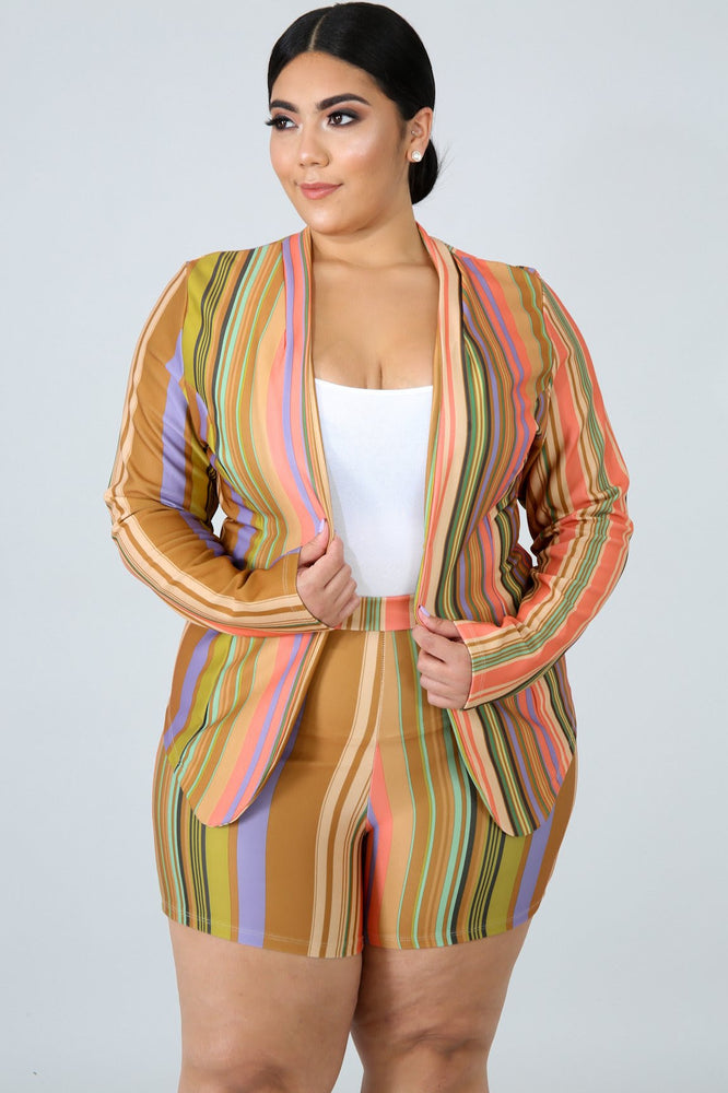 Tam Stripe Blazer Short Set