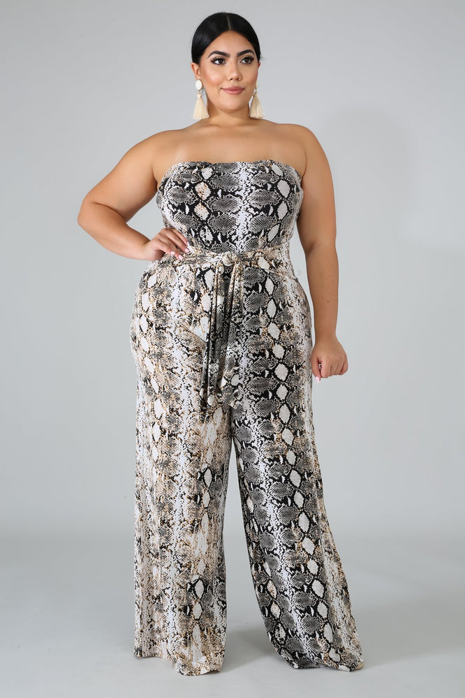 Terry Tube Snake Print Jumpsuit
