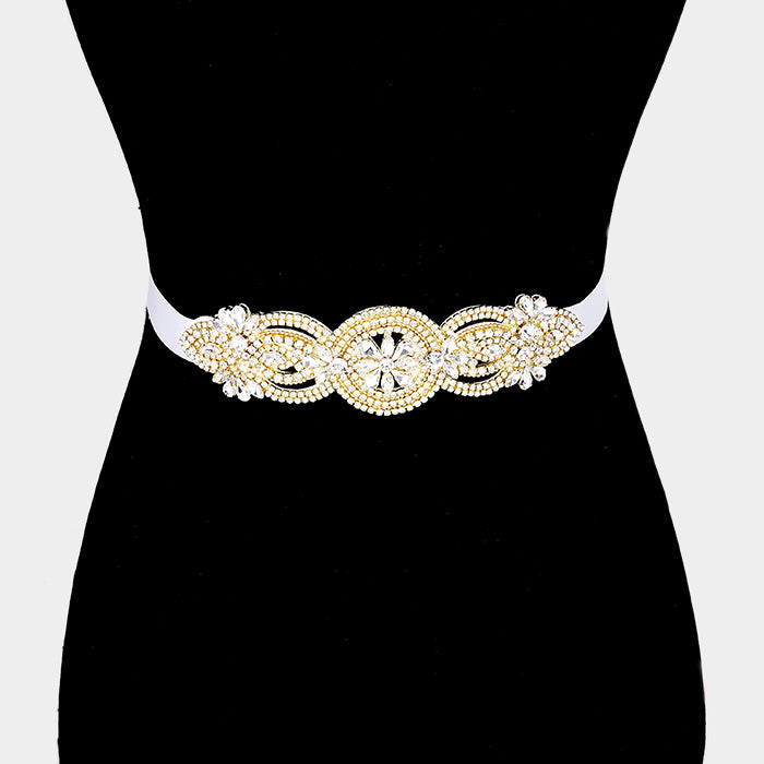 Gold Flower Rhinestone Sash Ribbon Bridal Belt