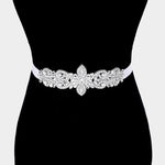 Silver Flower Rhinestone Sash Ribbon Bridal Belt