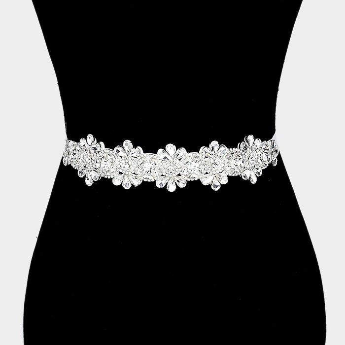 Silver Floral Crystal Sash Ribbon Bridal Belt