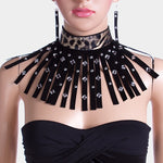 Animal Print Velvet Bar Stud Fringe Armor Necklace