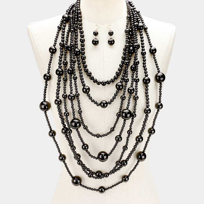 Black Chanel Pearl Necklace Set