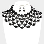 Black Choker Bib Pearl Necklace Set