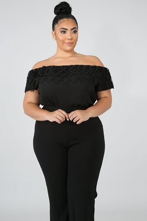 Black Crochet Chiffon Top